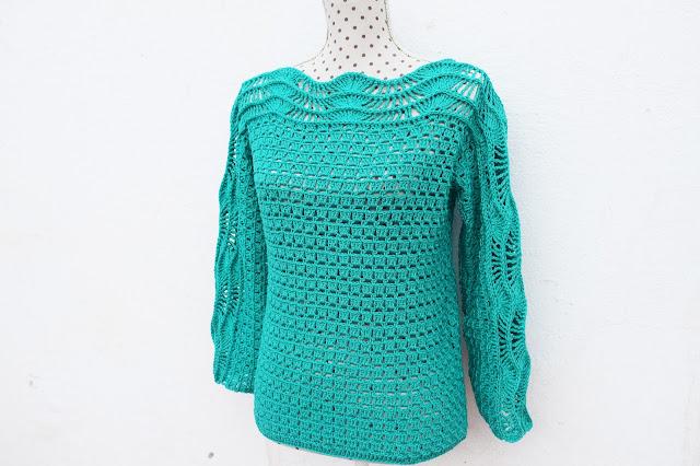 2 - Crochet Imagen Blusa verde a crochet y ganchillo muy facil sencilla paso a paso por Majovel Crochet