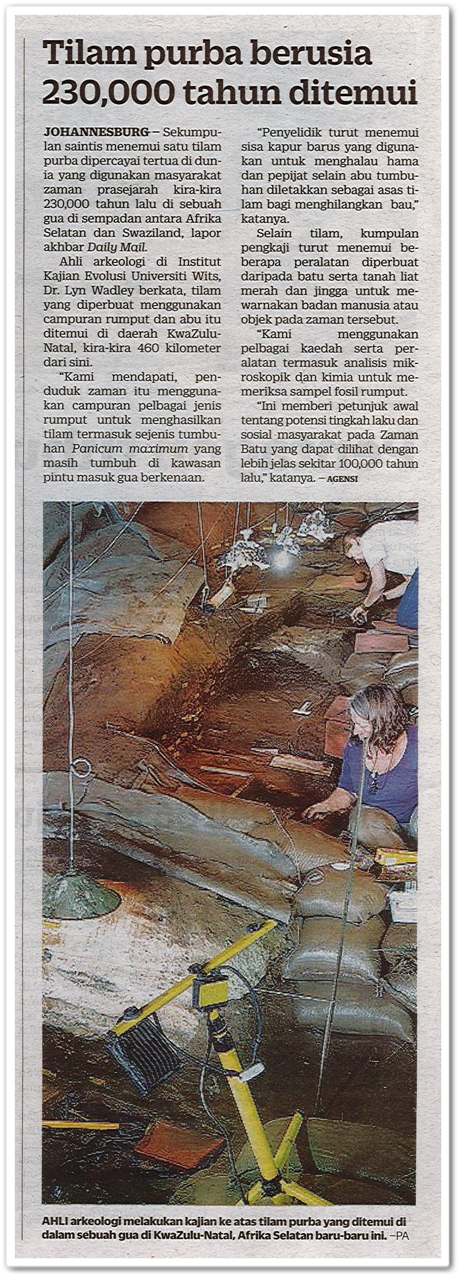 Tilam purba berusia 230,000 tahun ditemui - Keratan akhbar Kosmo! Ahad 16 Ogos 2020