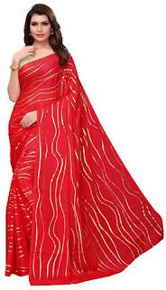red_satin_saree_teej_nepal