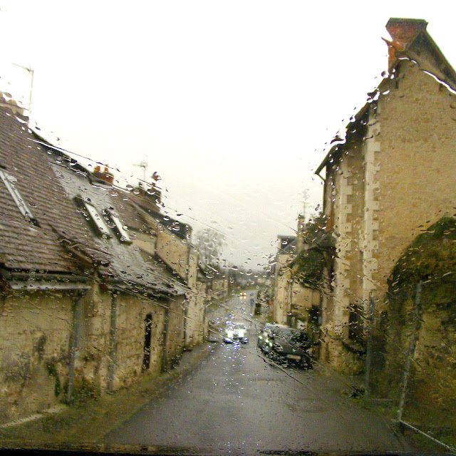 A street in Loches in the rain, Indre et Loire, France. Photo by Loire Valley Time Travel.