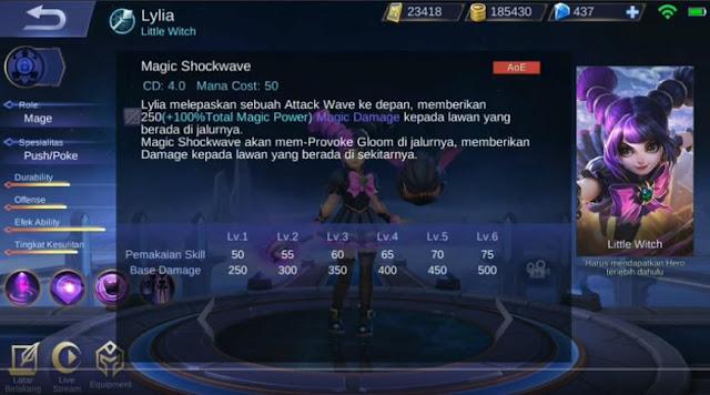 skill pertama LYlia Ml