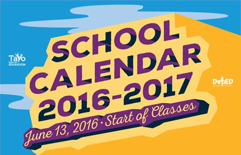 School Calendar for School Year 20162017 DepEd LPs – School Calendar