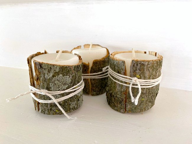 Bark and moss wrapped votive candles