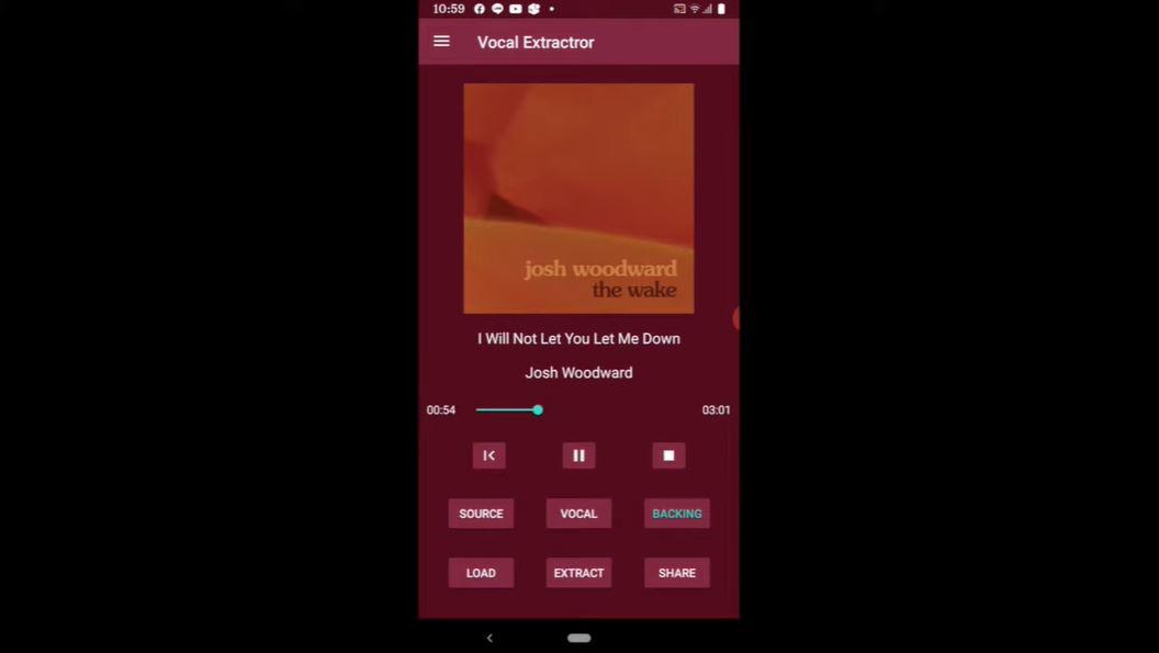 tampilan aplikasi vocal extractor
