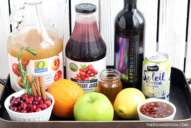 Ingredients For Making Cranberry Apple Holiday Sangria