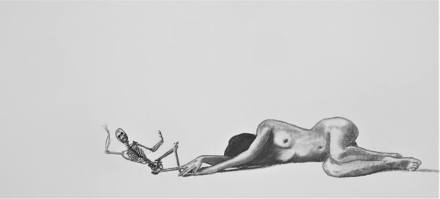 Sleep is the cousin of Death - a 2021 drawing by F. Lennox Campello
