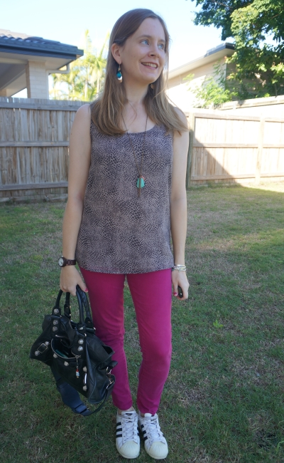 snake print tank with magenta sass and bide jeans, Adidas superstar and black Balenciaga part time bag   away from blue