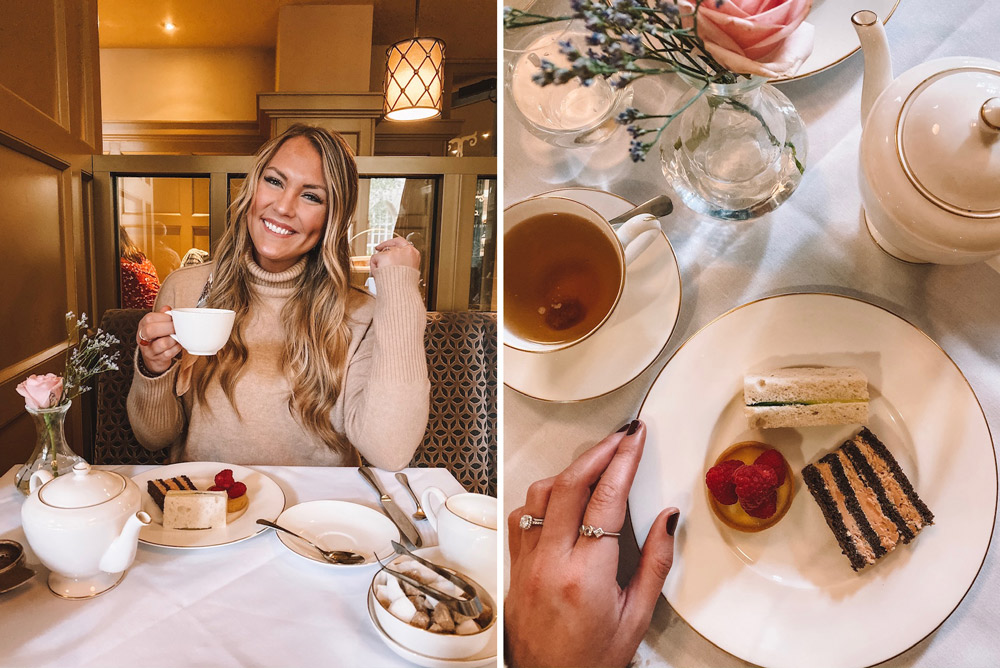 Travel blogger Amanda Martin has afternoon tea at the Midland Hotel Tea Room in Manchester, UK