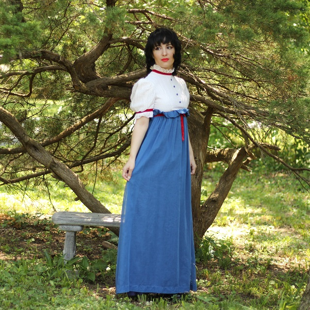 Blue and White Vintage Maxi Dress