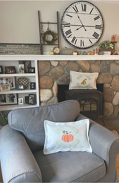 Living room with pillow on chair