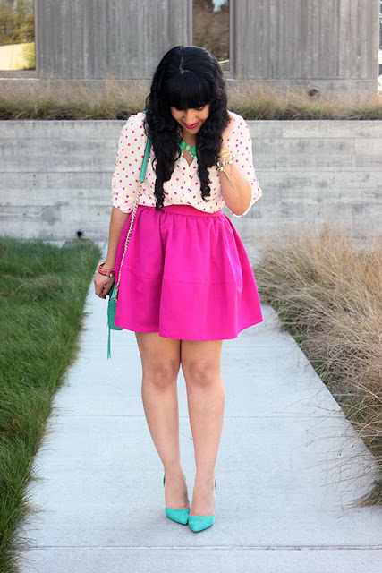 Express Portofino Polka Dot Blouse and Pink Skirt