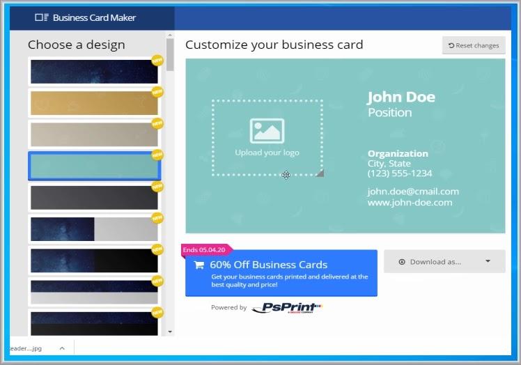 Business Card Maker : Δημιουργήσετε  επαγγελματικές κάρτες
