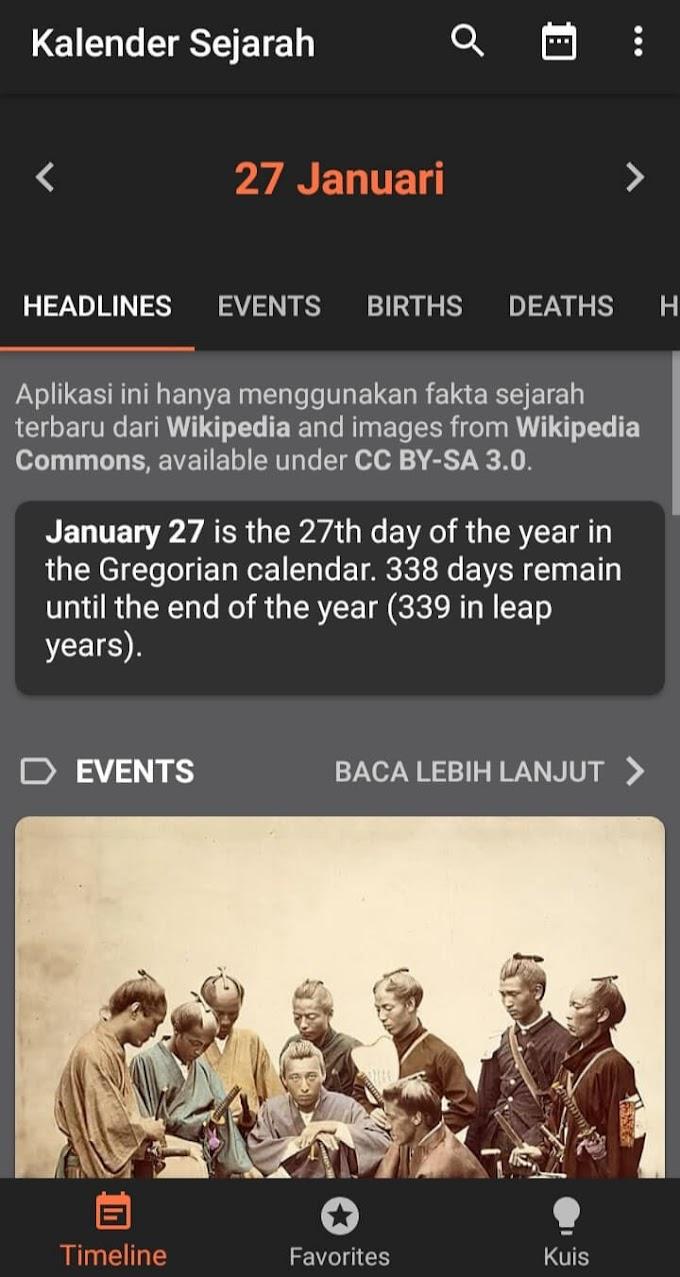 Aplikasi Kalender Sejarah untuk Pencinta Sejarah