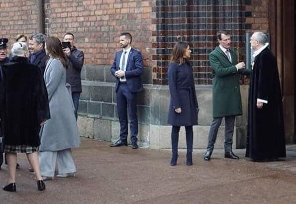 Crown Princess Mary. Princess Marie wore Hugo Boss Casenosa tie-waist coat in Italian virgin wool with cashmere in navy