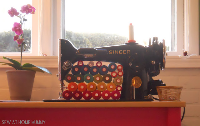 Singer 201 with Aurifil Spools - Sew at Home Mummy Chicago area Modern Quilter