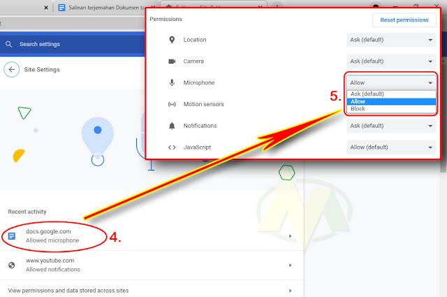 cara mengaktifkan mikrofon atau alat dikte di google docs yang error atau tidak berfungsi