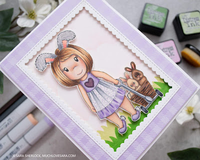 Handmade Card, Easter Card, DIY, Adult Coloring, Copic Markers, Prismacolor Pencils, Distress Ink Blending, Life Changing Blending Brush, Gingham stamp, Flannel Life Stamp, digistamp, Paper Nest Dolls, Bunny Wagon, Girl with bunnies, bunny girl, Easter bunnies, spring