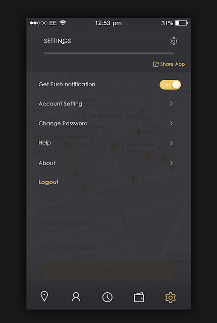 Taxi App Setting Screen