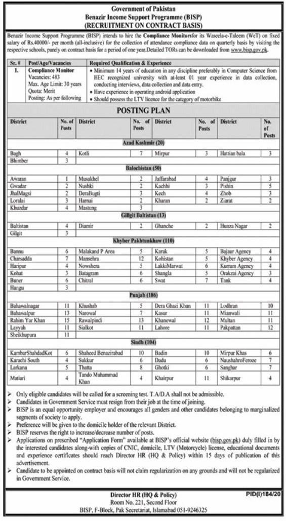 BISP Compliance Monitor Jobs 2020 – Benazir Income Support Programme Jobs