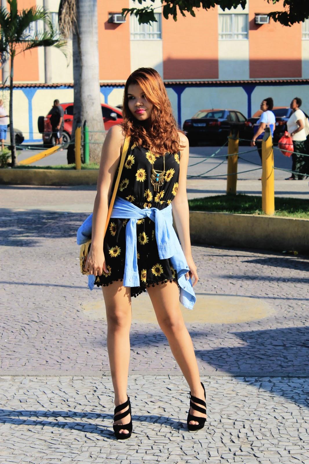 Look china, macaquinho girassol, salto preto, she inside, sammydress, salto preto, look verão, parceria, recebidos