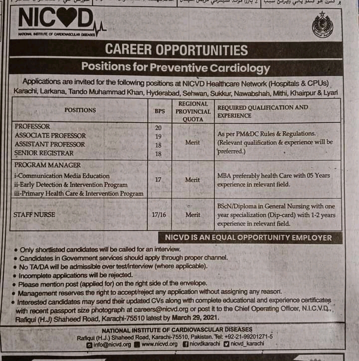 National Institute Of Cardiovascular Disease NICVD Jobs 2021 For Staff Nurse, Manager HR, Quality Assurance Manager & more
