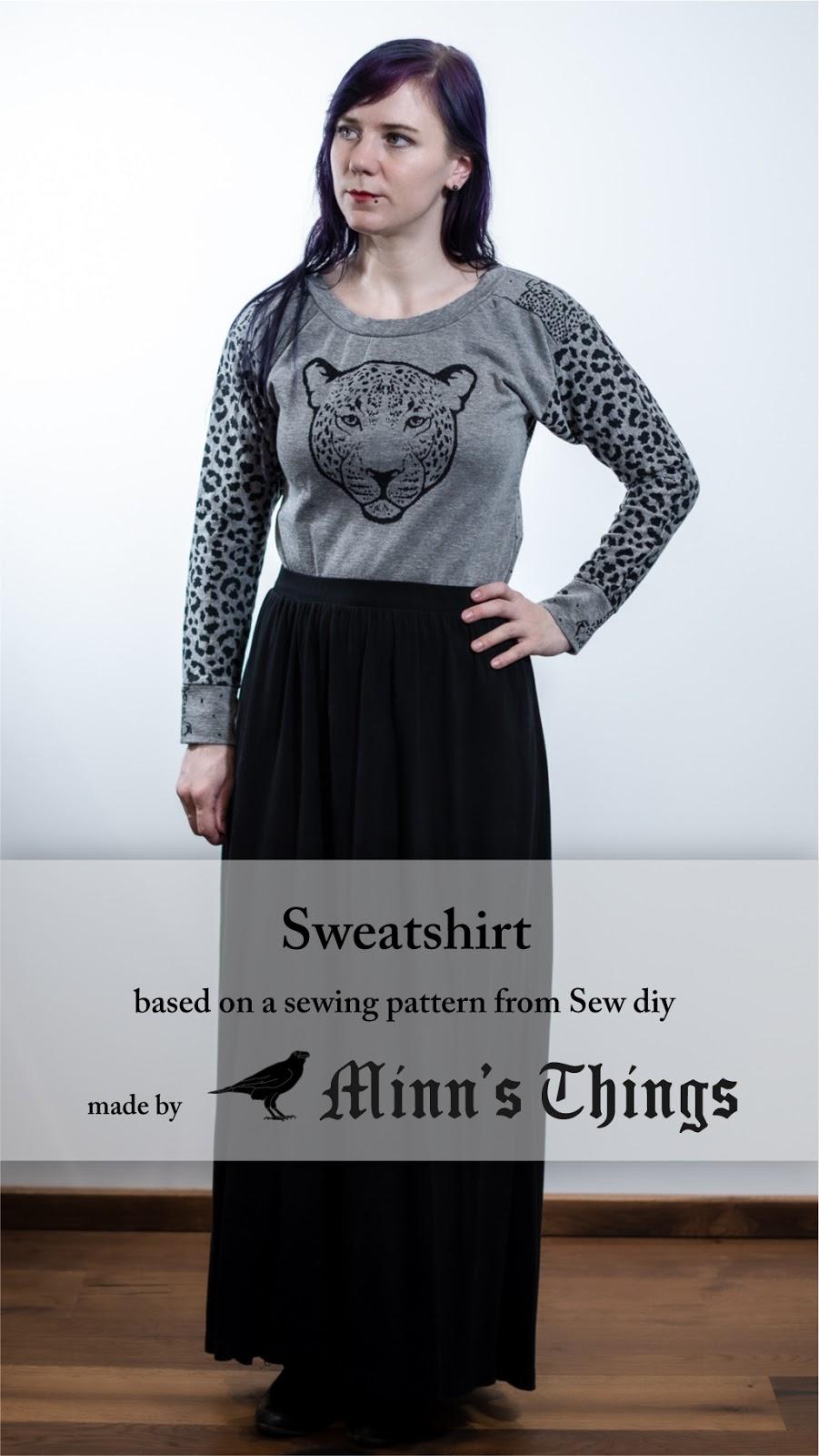 cheetah fabric sweatshirt selfdrafted modified sewing pattern Minn's Things Pinterest