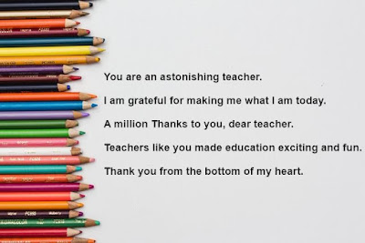 Short thank you messages for teachers with pencil image on left.