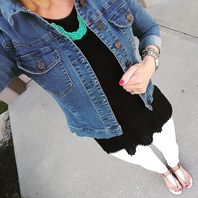 Kut From the Kloth Denim Jacket - similar for $33 // Pebble & Stone Ruffle Hem Tee via Marshall's (similar) // Gap Factory Jeans (similar) // Chloe & Evie Turquoise Necklace // Nine West Sandals (similar) // Michael Kors Runway Watch - on sale!