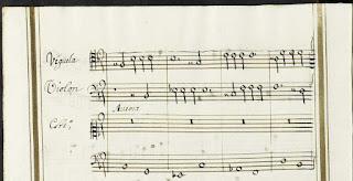 """Página 100 de la única copia conservada de """"Los Elementos"""" de Antonio Literes (1673-1747) para """"viguela"""", disponible en la Biblioteca Nacional de España."""