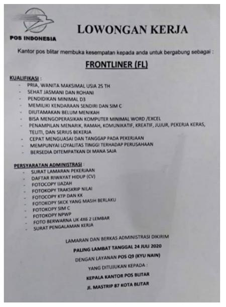 Lowongan Kerja Frontliner Kantor Pos Indonesia Juli 2020