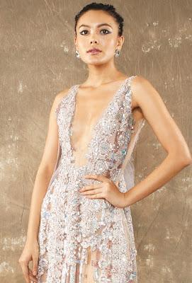 Manish Malhotra dresses Crocket Flower highslit gown front side