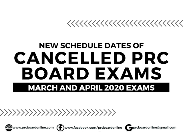 New Schedule Date/s of Cancelled PRC Board Exams