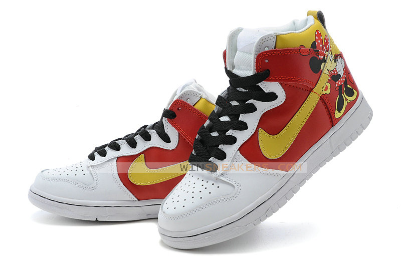 uk availability 73579 d46ee Red Yellow Nike Dunks Minnie Mouse Custom High Tops.