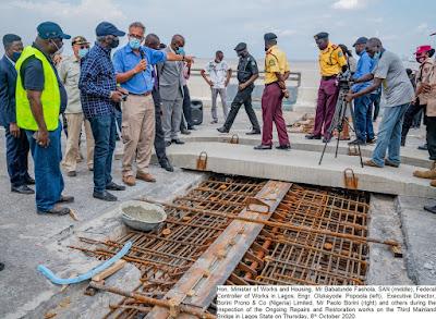 PHOTOS: Fashola Inspects Ongoing Repairs and Restoration on Third Mainland Bridge Lagos