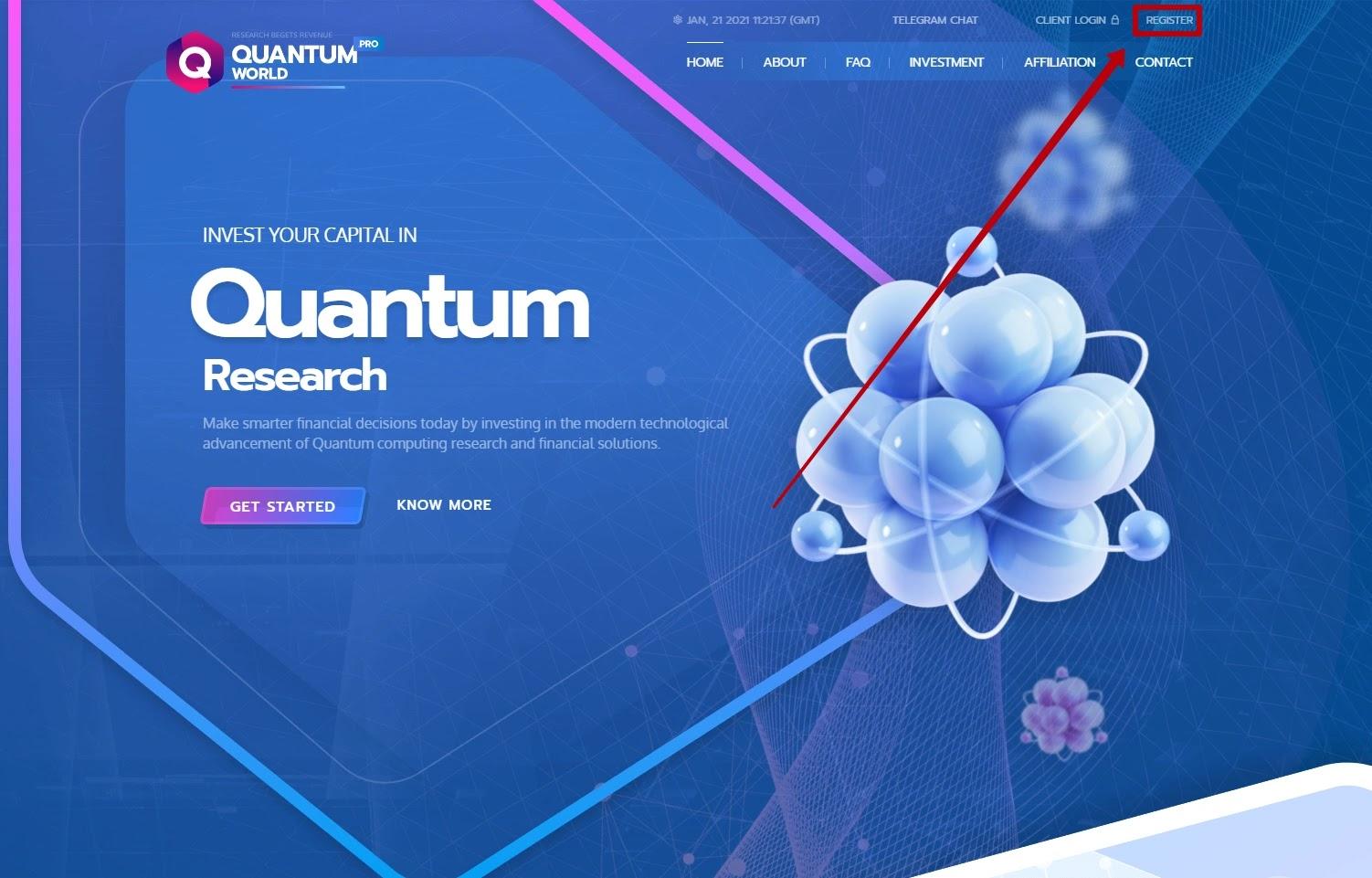 Регистрация в QuantumWorld