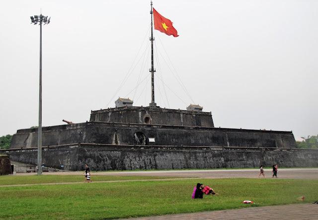 flag stand citadel hue vietnam