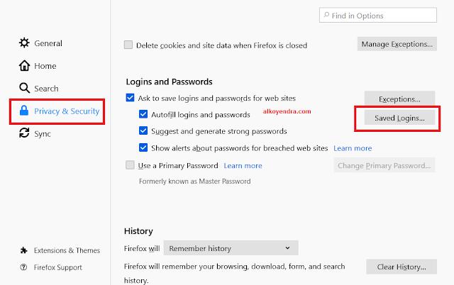 Cara ekspor dan import username dan password mozilla
