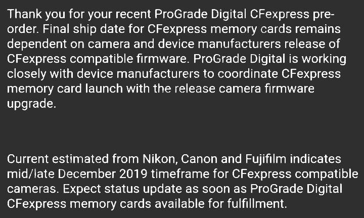 Текст компании Prograde Digital о совместной работе надо стандартом карт памяти CFexpress