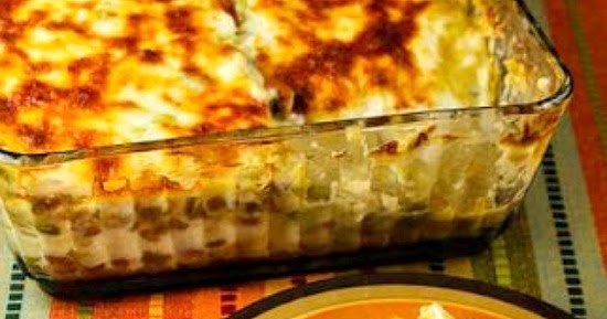 ... Layered Mexican Casserole with Chicken, Green Chiles, Pinto Beans, and