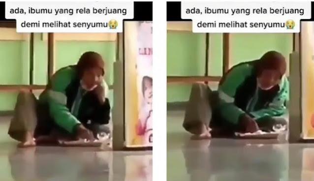Momen Ibu Driver Ojol, Makan Nasi Bungkus di Lantai Berjuang Keras Demi Bahagiakan Anaknya