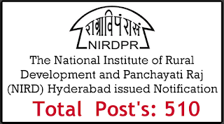 NIRD The National Institute of Rural Development and Panchayati Raj Notification Apply Now