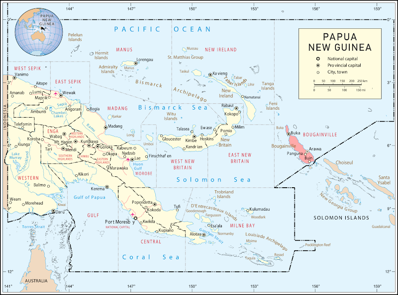 Where is Bougainville island located? Map of Bougainville's location within Papua New Guinea.