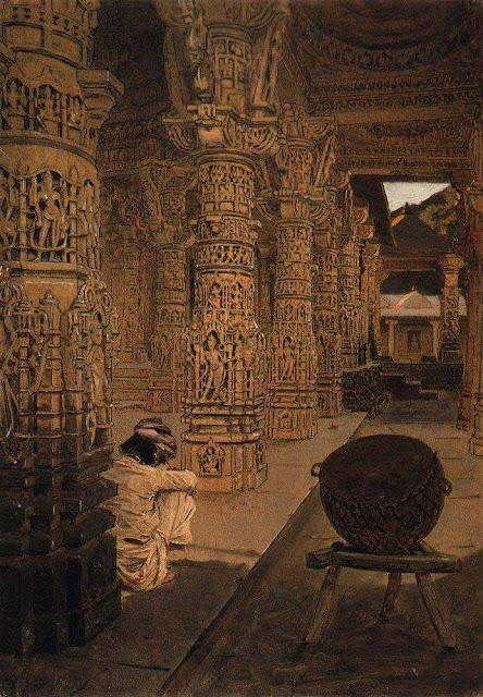 Василий Васильевич Верещагин - Колоннада в Джайнском храме на горе Абу вечером. 1874-1876
