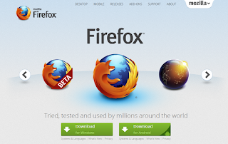 Laptop webes böngésző Firefox