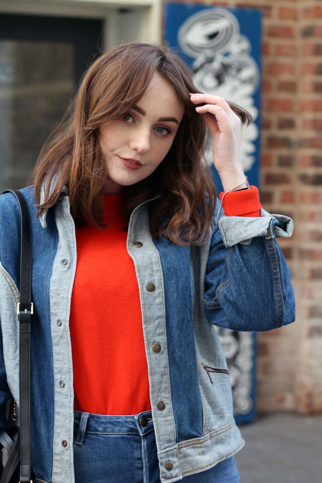 UK style blogger rokit vintage denim jacket lee denim