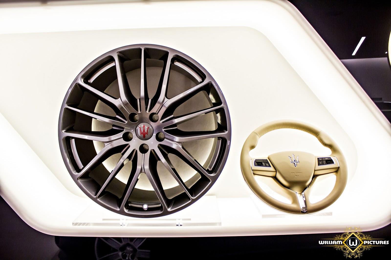 Không gian trưng bày các thiết bị, phụ kiện của các dòng xe Maserati