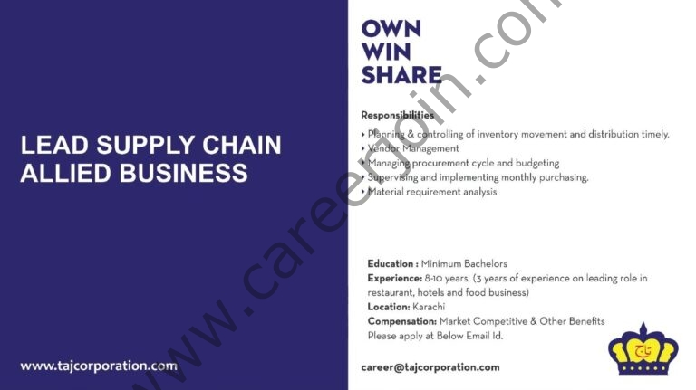 careers@dolmengroup.com - Taj Corporation Jobs 2021 in Pakistan
