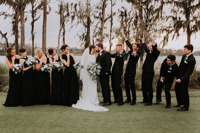 bridal party cheering
