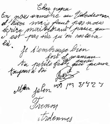 Première lettre de Marie Jelen (transposée sur le mur)
