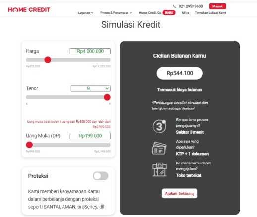 simulasi tabel angsuran home credit online